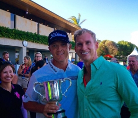 Travis celebrates with 2015 Emirates Australian Open Champion, Matt Jones
